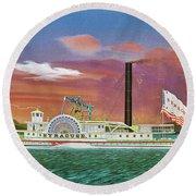 The Steamship Syracuse Round Beach Towel
