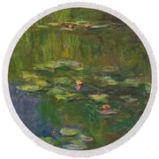 The Water Lily Pond Round Beach Towel