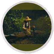 The Whittling Boy Round Beach Towel