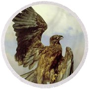 The Wounded Eagle Round Beach Towel