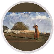 The Young Shepherdess Round Beach Towel