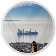 Thessaloniki With View Of Olympus Round Beach Towel