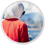 Thoughtful Women Round Beach Towel