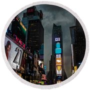 Times Square Nyc Round Beach Towel