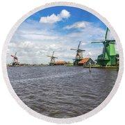 Traditional Dutch Windmills At Zaanse Schans, Amsterdam Round Beach Towel