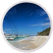 Traditional Filipino Ferry Taxi Tour Boats Puka Beach Boracay Ph Round Beach Towel