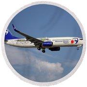 Travel Service Boeing 737-8cx Round Beach Towel
