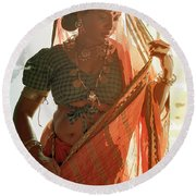 Tribal Beauty Of India Round Beach Towel