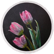 3 Tulips Round Beach Towel