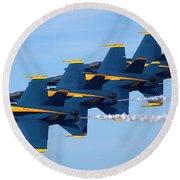 U S Navy Blue Angeles, Formation Flying, Smoke On Round Beach Towel