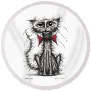 Ugly Cat Round Beach Towel