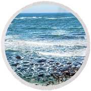 Usa California Pacific Ocean Coast Shoreline Round Beach Towel