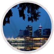 Vancouver Skyline Canada Round Beach Towel