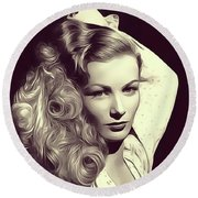 Veronica Lake, Vintage Actress Round Beach Towel