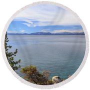 View Across Lake Tahoe Round Beach Towel