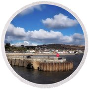 View From The Cobb - Lyme Regis Round Beach Towel