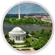 View Of The Jefferson Memorial And Washington Monument Round Beach Towel