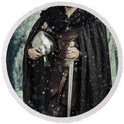 Viking Warrior With Sword Round Beach Towel