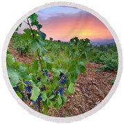 Vineyards Round Beach Towel