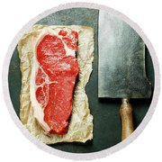 Vintage Cleaver And Raw Beef Steak Round Beach Towel