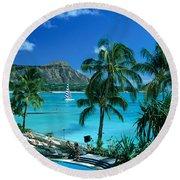 Waikiki And Diamond Head Round Beach Towel