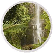 Wailua Falls Round Beach Towel