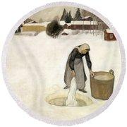Washing On The Ice Round Beach Towel
