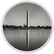 Washington Memorial In Washington Dc Round Beach Towel