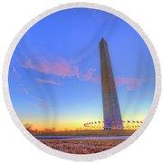 Washington Monument Sunset Round Beach Towel