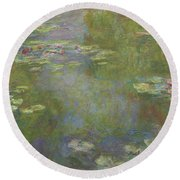 Water Lily Pond Round Beach Towel