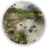 Watercolor Painting Of Beautiful Autumn Fall Landscape Image Of  Round Beach Towel