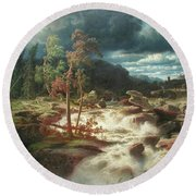 Waterfall In Smaland Round Beach Towel