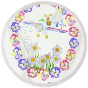 Welcome Spring. Rabbit And Flowers Round Beach Towel