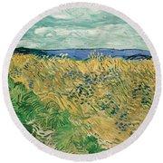 Wheat Field With Cornflowers Round Beach Towel