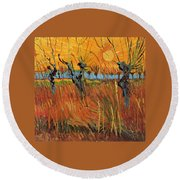 Willows At Sunset Round Beach Towel