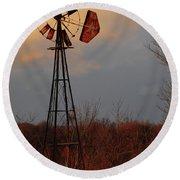 Windmill At Dusk Round Beach Towel
