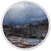 Winter Landscape And Snow Covered Roads In The Mountains Round Beach Towel