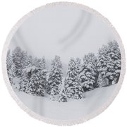 Winter Landscapes Round Beach Towel