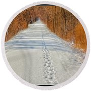 Winter On Macomb Orchard Trail Round Beach Towel