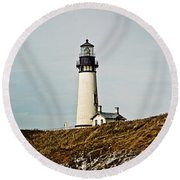 Yaquina Head Lighthouse - Toned By Texture Round Beach Towel