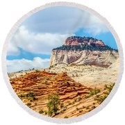 Zion Canyon National Park Utah Round Beach Towel