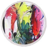 Abstract Landscape Painting Round Beach Towel