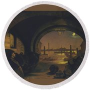 Past And Present Round Beach Towel