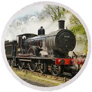 Steam Train At Rest. Round Beach Towel