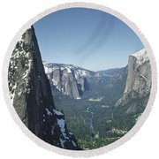 306754 Yosemite Valley From Union Point  Round Beach Towel