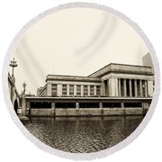 30th Street Station From The River Walk In Sepia Round Beach Towel