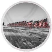 Pepperdine Flag Salute Round Beach Towel