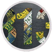 313 Area Code Detroit Michigan Recycled Vintage License Plate Art Round Beach Towel