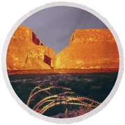317828 Sunrise On Santa Elena Canyon  Round Beach Towel