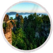 Landscape Paintings Round Beach Towel